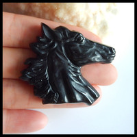 Wholesale wire horses resale online - Carved horse head Obsidian Pendant Bead Jewelry accessories Jewelry Gift Gem Customized x39x8mm g