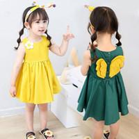 ingrosso verde limone-2-6 anni Cute baby ragazze vestito di cotone con ala giallo verde bambini moda principessa gonna angelo ala abiti serbatoio vestiti di maglia