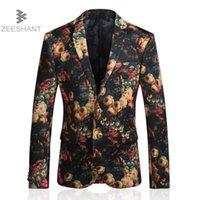 abrigo estampado rosa al por mayor-ZEESHANT Blazer Men 2018 Rose Impreso Hombres Blazers Chaqueta de traje casual Slim Fit Homens Blazer Hombres Stage Wear Brand Coat 5XL