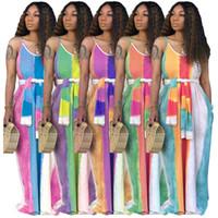 uzun yaz şeritli elbise toptan satış-Kadın Maxi Elbiseler Çizgili Straplez Uzun Etekler Sashes Gevşek Yaz Rahat Giyim Kolsuz Renkli sundress LJJA2623