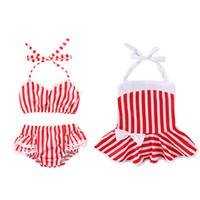 Wholesale fashion swimwear children for sale - Baby Girls Red white stripe print swimwear summer fashion children Bikinis kids Swimsuit C6038
