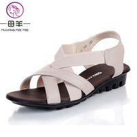 китайская фирменная обувь оптовых-MUYANG Chinese  Summer Women Genuine Leather Flat Sandals Female Casual Comfortable Shoes Woman Flats Women Sandals