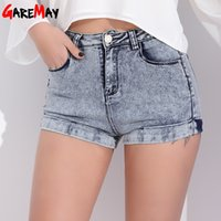 Wholesale big sizes womens clothing for sale - Garemay Womens Denim Shorts Women Short Jeans Black Sexy High Waist Shorts Woman Summer Short Femme Clothing Cotton Big Size S190423