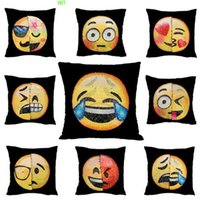 Wholesale emoji pillows resale online - New Design Double Color Emoji Sequins Pillow Case Fashion Face Expression Pillow Covers Home Decor Sofa Car Cushion Bright Covers