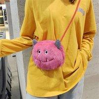 niedliche kleine frauen tasche großhandel-Der Plüsch-MiniCrossbody Beutel der neuen Frauen nette Karikatur-kleine Monster-Schulterkurierbeutel-Handy-Beutel-runde Tasche