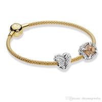 pulseiras pandora completo venda por atacado-Presentes de natal Pandora grânulos de ouro da vida charme pulseiras de prata esterlina 925 jóias pacote completo presentes