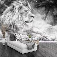 ingrosso divano bianco arredamento-Carta da parati personalizzata foto murale in bianco e nero animale leone papier peint murale 3d soggiorno divano camera da letto sfondo carta decor