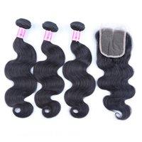Wholesale 100 virgin brazilian hair online - Ais Hair Brazilian Virgin Hair With Closures Extension Bundles Body Wave With x4 Closure Unprocessed Remy Human Hair Weave