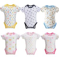 Wholesale new born unisex clothes online - 2019 M O Neck Cotton Baby Bodysuits New Born New Summer Overalls Layette Boy Girl Bodysuit Casual Jumpsuit Baby Clothing