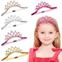 taç takma toptan satış-Kız Bebek Bebek Çocuk Bantlar Prenses Taç Şapkalar Bow Aksesuarları Saç