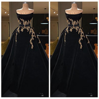 Wholesale white empire strapless prom dress for sale - Group buy 2020 Strapless A Line Evening Dresses With Gold Embroidery Special Occasion Party Gowns Celebrity Gowns Luxurious Maxi Prom Wear