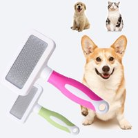 Wholesale hair color remover resale online - Candy Color Pet Dog Hair Remover Comb Large Handle Newest For Cat Bath Grooming Clean Tool Pets Supplier Stainless Steel Combs