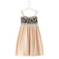 keten işlemeli yazlık elbiseler toptan satış-4-14 Yıl Genç Kız Çin Tarzı Pamuk Keten Kolsuz Işlemeli Çiçek Çocuklar Uzun Elbise 2019 Yeni Yaz Sling Plaj Elbise Y190516