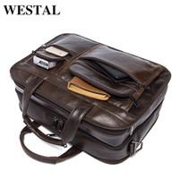 Wholesale locking briefcase for sale - Group buy WESTAL Messenger Bag Men s shoulder bag Genuine leather Male man Briefcases laptop big Men s Travel Bags for men handbags