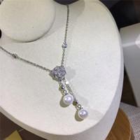 collar de perlas colgante de plata al por mayor-Collares de rosas de lujo S925 Collares pendientes de plata esterlina Perlas de agua dulce para mujeres Regalo de boda del partido