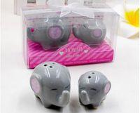Wholesale baby shower ceramic favors resale online - 100pcs sets Baby shower favor Mommy and Me Little Peanut Elephant ceramic Salt and Pepper Shaker Wedding Favors and Gifts