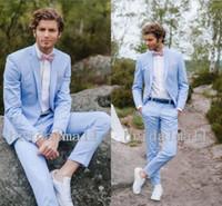 hellblaue prom passt großhandel-Neue 2019 Light Sky Blue Slim Fit Hochzeit Smoking Zwei Tasten Revers Revers männer Prom Anzug Mode Bräutigam Smoking Tragen (jacke + Pants)