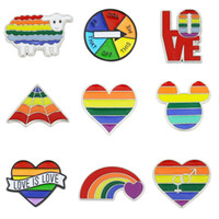 Wholesale clothes pins resale online - Rainbow LGBT Brooch Cartoon Heart Flag Sheep Mouse Enamel Pins Lesbians Gays Pride Badge Lover Clothes Lapel Pin Gift