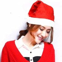 kırmızı şapka giysileri toptan satış-60 adet / lot 2020 Yeni Yıl Kapak Noel Partisi Red Hat Beyaz Şapka Kapak Noel Baba Giyim Çocuk Yetişkin Noel Şapkası T191029