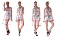 Fashion Transparent Raincoat Clear Rainwear Hooded Outdoors Waterproof Rain Coats Unisex Ladies Long Raincoats For Woman