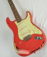 reliquia de guitarras electricas al por mayor-Custom Shop Michael Landau Relic Electric Guitar 1963 Aged Relic Strats en Fiesta Red Vintage Guitar Parts Guitarra China