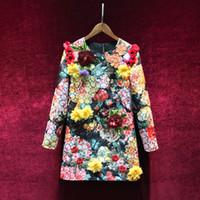 lentejuelas ropa vintage al por mayor-2019 Primavera Flora Imprimir vestido de pasarela Granos Lentejuelas flores diseñador de la marca de manga larga Vestido de pasarela Ropa de mujer vestido de fiesta de lujo G83722
