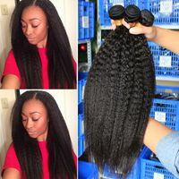 Wholesale human hair weave pcs resale online - RXY Kinky Straight Brazilian Hair Weave Bundles Bag Kinky Straight Human Hair Bundles Unprocessed Virgin Brazilian Hair