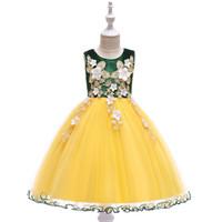 çocuk yarışması mor elbiseler toptan satış-Tatlı Mor Şarap Mavi Yeşil Diz kızın Pageant elbise Çiçek Kız Elbise Prenses Parti Elbiseler Çocuk Etek Custom Made 2-14 H319543