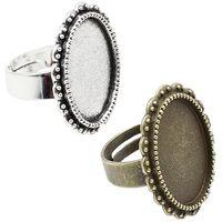 anillo de ajuste de bisel ovalado al por mayor-ewelry los accesorios de los componentes de joyería 18x13mm Tamaño interno de cobre del metal del anillo de la aleación oval campo en blanco tapa del panel cabujón anillo Ba ...