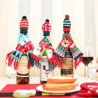 Wholesale scarf bottle for sale - Group buy Christmas Wine Bottle Scarf Cover Santa Reindeer Tree Mini Scarf Hat CaseChristmas Decorations Home Decor Drop Ship