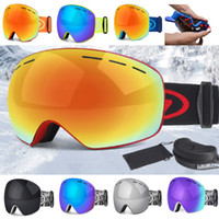 Wholesale snow ski goggles online - Snow Goggles Snowboard goggles Double Anti Fog UV Spherical Ski Mask Eyewear Glasses Outdoor snow mask windproof goggles for Men Women