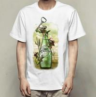 ingrosso abiti da bottiglia-T-shirt apri T-shirt a manica corta bottiglia di rana Desiderate una maglietta a tinta unita da bere Abbigliamento con stampa Colorfast Maglietta modal color puro