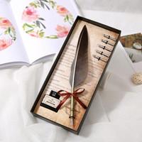 stylos de plumes de mariage achat en gros de-Rétro calligraphie plume plume plume stylo écriture encre ensemble stylos à plume papeterie cadeau boîte cadeau d'anniversaire de mariage cadeaux Dropshipping