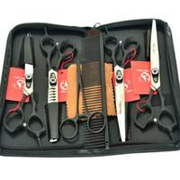 haustierpflege schere-kit großhandel-7.0Inch Professional Pet Grooming Scissors Set Fellknipser Hundescheren Gerade Ausdünnung Gebogene Schere