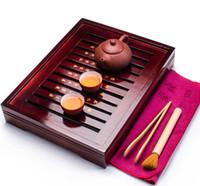 kung fu çay setleri toptan satış-Çin Çay Tepsi Mor Kil Çaydanlık 2 Bardaklar Seramik TeaTool Çay Töreni Çin Kung Fu Çay Seti A031