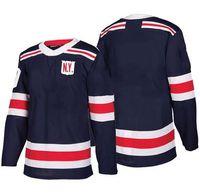 хоккей пустая джерси s оптовых-Недорогой новый бренд Mens New York Rangers 10 J.T. Miller 13 Kevin Hayes 17 Jesper Fast Blank Navy 2018 Зимняя классическая футболка для хоккея на льду