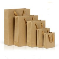 braune tragetasche großhandel-Easy Carry Kraft Paper Bag mit Griff E-co Craft Paper Einkaufstüten Custom Printing Logo Brown Papiertüte