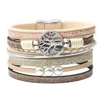 bracelet d'enveloppe d'arbre achat en gros de-Weave Tree of Life Bracelet inspiré Lettre multicouche Wrap Bracelet Poignets Poignet Femmes Hommes Bijoux de mode Drop Ship