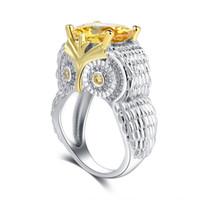 ingrosso anelli nuziali del gufo-vendita all'ingrosso S925 Silver Lucky Owl Bird Ring con zirconi Eternity anelli impilabili Wedding Band per le donne Ragazze regalo di compleanno