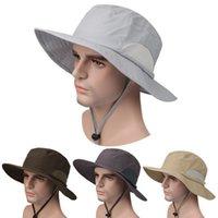 chapéus de pesca respirável venda por atacado-Ao ar livre Chapéu de Pesca Dobrável Tampas de Tamanho Livre Respirável Proteção Solar Leve e Secagem Rápida para Caminhadas Caça Chapéu de Sol ZZA628