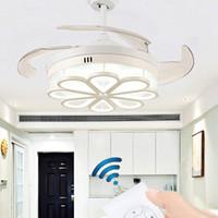 ventilateur trois vitesses achat en gros de-Lumière de ventilateur de plafond de 42 pouces Intégration LED Lumière tricolore avec réglage à distance de la vitesse ABS invisible lame