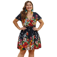 Retro Women clothing Plus size Dresses Floral Print V neck Elastic Waist  Short sleeve Summer dress 4XL 1pc Wholesale Hot selling