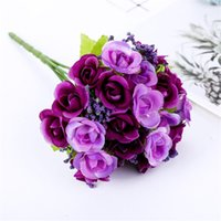 decoração pequena casamento venda por atacado-21 Diamante Rosa Simulação 7 Pequenos Botões De Rosa Pequeno Buquê De Pano De Seda Flores De Alta Qualidade Decoração De Casamento Flores