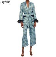 noktalı ceket toptan satış-Kabanlar Vintage Geometrik Nokta Baskı Bağlı Yay Blazer Ceket Feminino Tüy Püskül Manşet Slim Fit Orta Uzun Blazers Ceket Suits