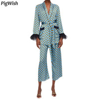 chaqueta punteada al por mayor-Prendas de abrigo Vintage Geométrico Punto Imprimir Atado Bow Blazer Abrigo Feminino Pluma Borla Cuff Slim Fit Mid Long Blazers trajes chaqueta