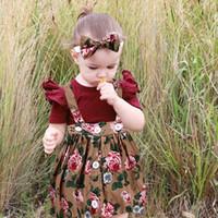 bebek kızı etek toptan satış-Çocuklar Casual Giyim Seti Pamuk 3 Adet / Parti Bebek Kız Erkek Gömleği Baskılı Etek + Kafa + Romper Kıyafetleri Bebek Giyim
