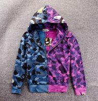 chaqueta de lana púrpura para hombre al por mayor-Coat Wome del basculador para hombre de las mujeres suéter Sportwear Fleece con capucha Hip Hop cuello redondo Drake púrpura casual con capucha de la chaqueta luminosa Boca del tiburón