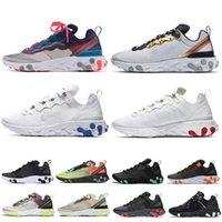 erkek ayakkabılarını çöl toptan satış-Nike react element 87 Koşu Ayakkabıları T728N siyah beyaz atletik açık Spor Koşu ayakkabı eğitmen hız kadın sneakers