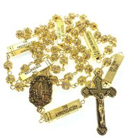 Wholesale 8mm rosary beads resale online - blingbling mm golden color crystal rhinestone beads five mysteries rosary religious catholic rosario