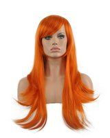 perçinli peruklar toptan satış-Kadınlar Büyüleyici Uzun Turuncu Eğik Bangs Gül Net Kıvırcık Kanekalon Isıya Dayanıklı Cosplay Parti Saç Tam Peruk Peruk